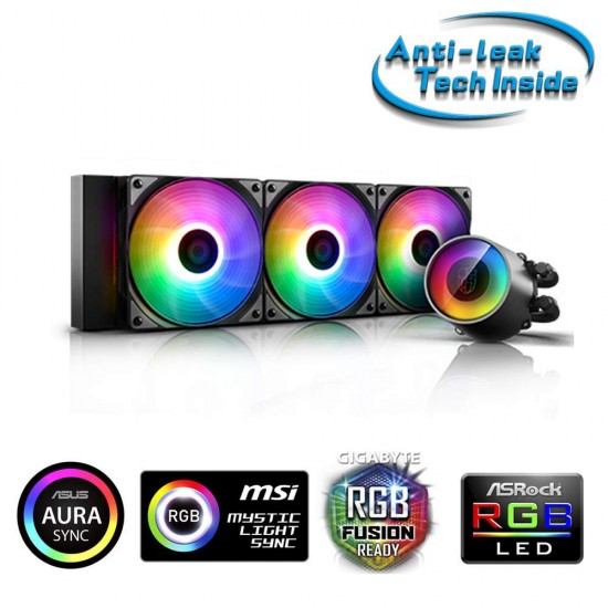 DEEPCOOL Castle 360 RGB V2 ARGB All-in-one Liquid CPU Cooler with Anti-Leak Tech Mirror Finish and immersive Ambient Lighting on The Pump TR4/AM4 AMD Socket Types
