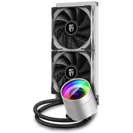DEEPCOOL Castle 240 EX WH, Addressable RGB AIO Liquid CPU Cooler, Anti-Leak Technology Inside, Cable Controller and 5V ADD RGB 3-Pin Motherboard Control, TR4/AM4 Supported