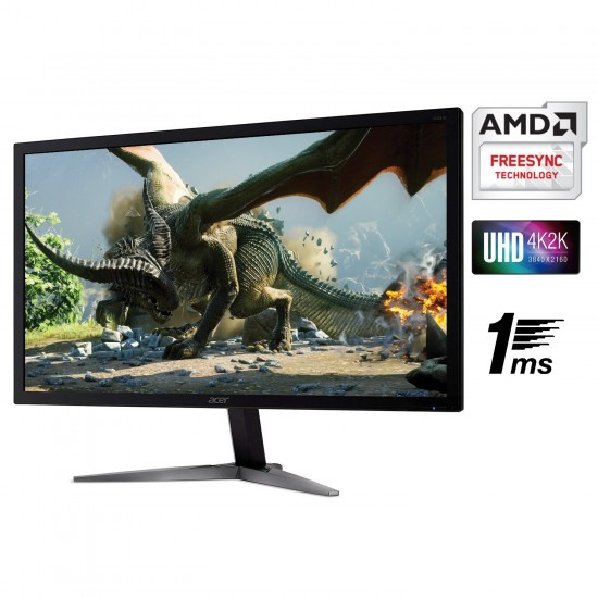 """Acer  28"""" UHD 4K (3840X2160) - TN Panel - 330 Nits - 1MS - 60 Hz - HDMI - Display Port - Stereo Speakers - Free Sync- HDR10 KG281K bmiipx"""